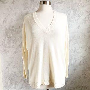 J. Crew Cream Ivory Wool V Neck Tunic Sweater S